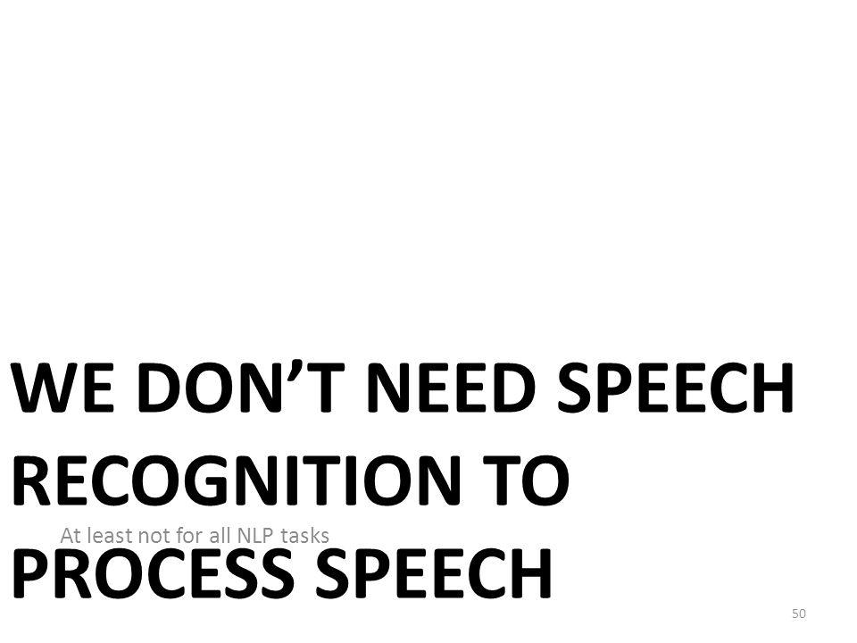 NLP on Spoken Documents Without Automatic Speech Recognition Mark Dredze, Aren Jansen, Glen Coppersmith, Ken Church EMNLP-2010 49