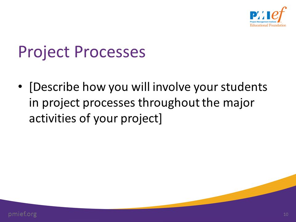 pmief.org Project Processes [Describe how you will involve your students in project processes throughout the major activities of your project] 10