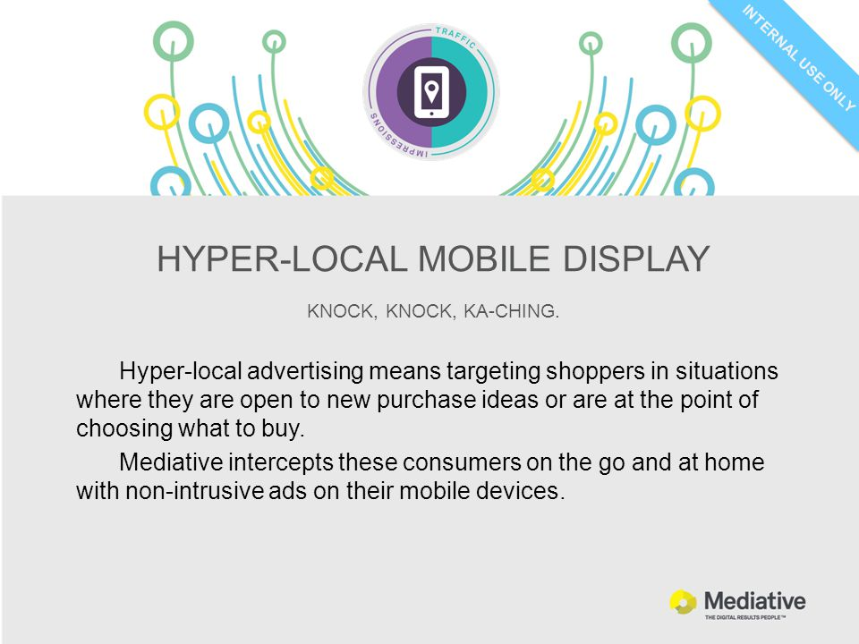 INTERNAL USE ONLY HYPER-LOCAL MOBILE DISPLAY KNOCK, KNOCK, KA-CHING.