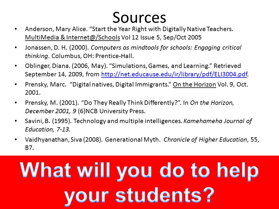 Sources Anderson, Mary Alice. Start the Year Right with Digitally Native Teachers.