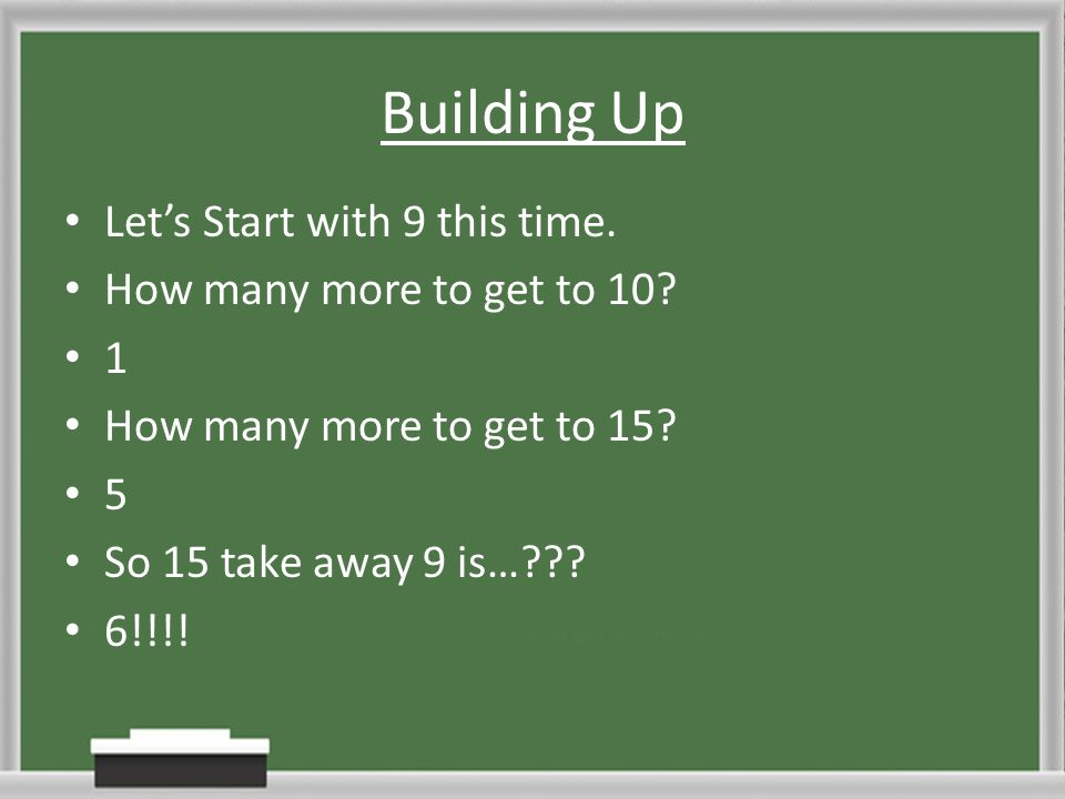 Building Up Let's Start with 9 this time. How many more to get to 10? 1 How many more to get to 15? 5 So 15 take away 9 is…??? 6!!!!