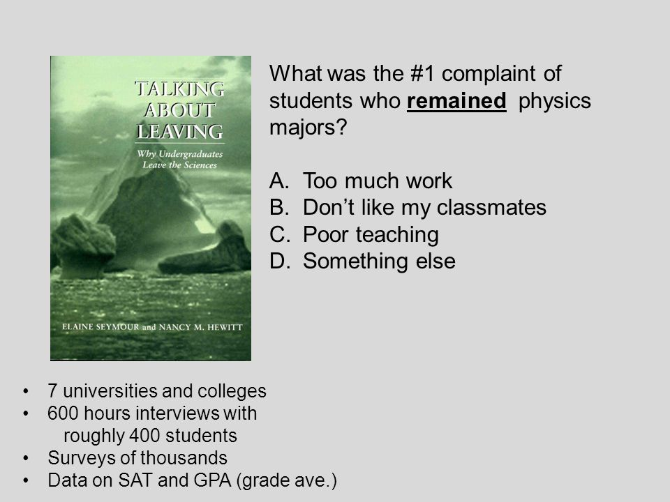 What was the #1 complaint of students who remained physics majors.