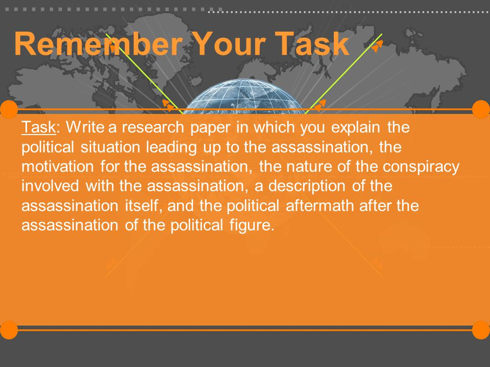 Remember Your Task Task: Write a research paper in which you explain the political situation leading up to the assassination, the motivation for the assassination, the nature of the conspiracy involved with the assassination, a description of the assassination itself, and the political aftermath after the assassination of the political figure.