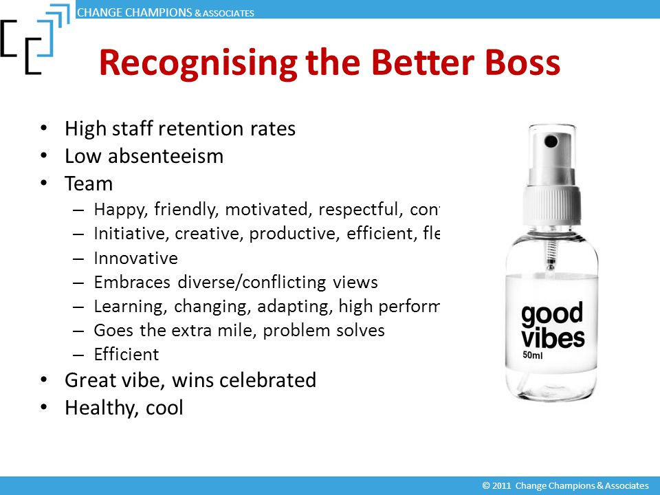 Recognising the Better Boss High staff retention rates Low absenteeism Team – Happy, friendly, motivated, respectful, confident – Initiative, creative, productive, efficient, flexible – Innovative – Embraces diverse/conflicting views – Learning, changing, adapting, high performing – Goes the extra mile, problem solves – Efficient Great vibe, wins celebrated Healthy, cool CHANGE CHAMPIONS & ASSOCIATES © 2011 Change Champions & Associates