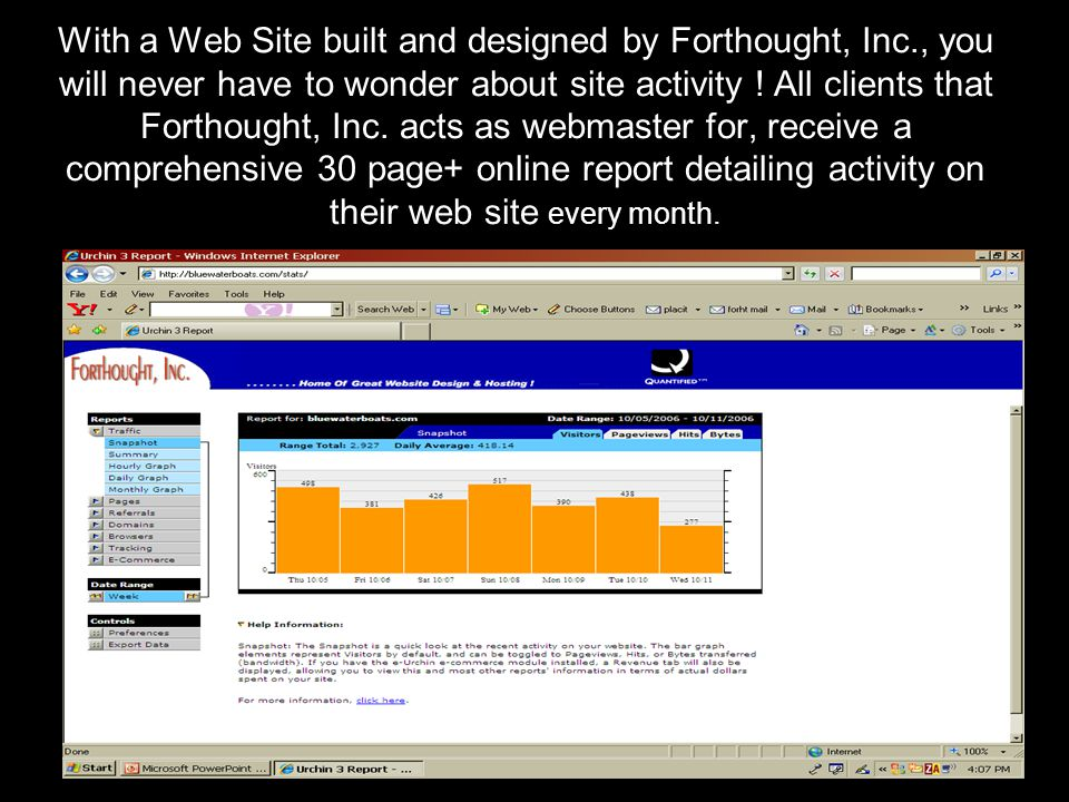 With a Web Site built and designed by Forthought, Inc., you will never have to wonder about site activity .