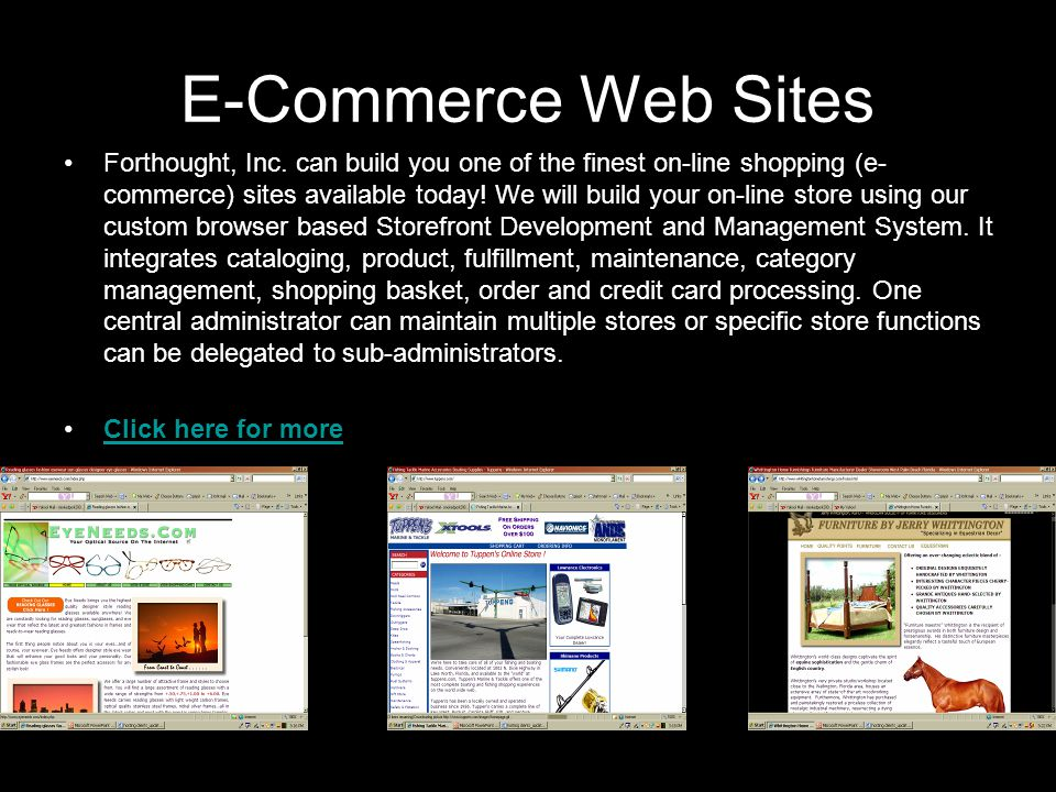E-Commerce Web Sites Forthought, Inc.