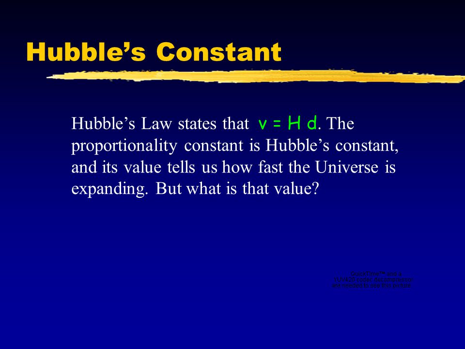 Hubble's Constant Hubble's Law states that v = H d. The proportionality constant is Hubble's constant, and its value tells us how fast the Universe is