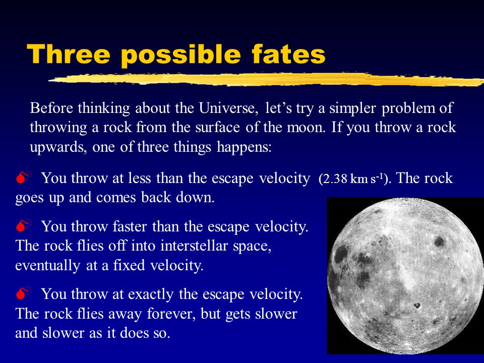 Three possible fates Before thinking about the Universe, let's try a simpler problem of throwing a rock from the surface of the moon.