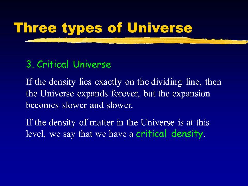 Three types of Universe 3.