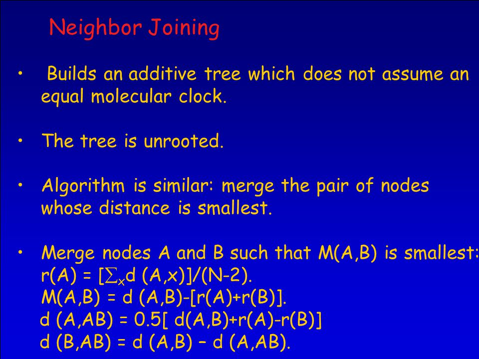 Neighbor Joining Builds an additive tree which does not assume an equal molecular clock.