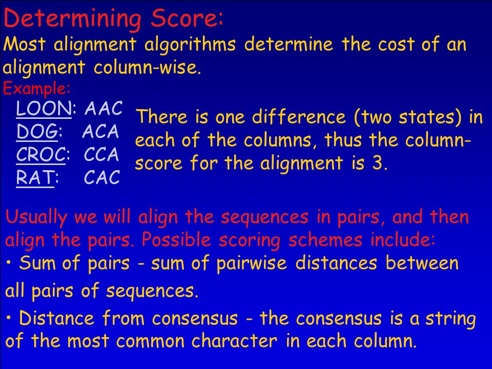 LOON: AAC DOG: ACA CROC: CCA RAT: CAC There is one difference (two states) in each of the columns, thus the column- score for the alignment is 3.