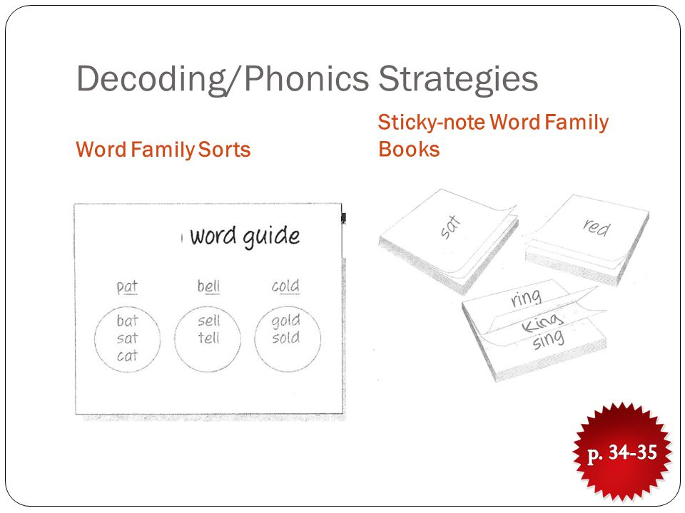 Decoding/Phonics Strategies Word Family Sorts Sticky-note Word Family Books