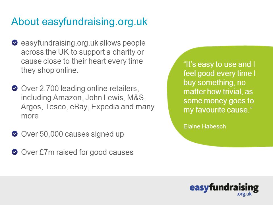 1.Start at easyfundraising.org.uk Let's say you want to buy a book from Amazon.