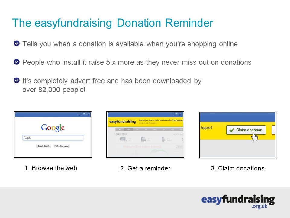 Raise money with every internet search Supporters raise on average £25 a year by using easysearch instead of Google or another search engine Automatically set to 'safe search' www.easysearch.org.uk
