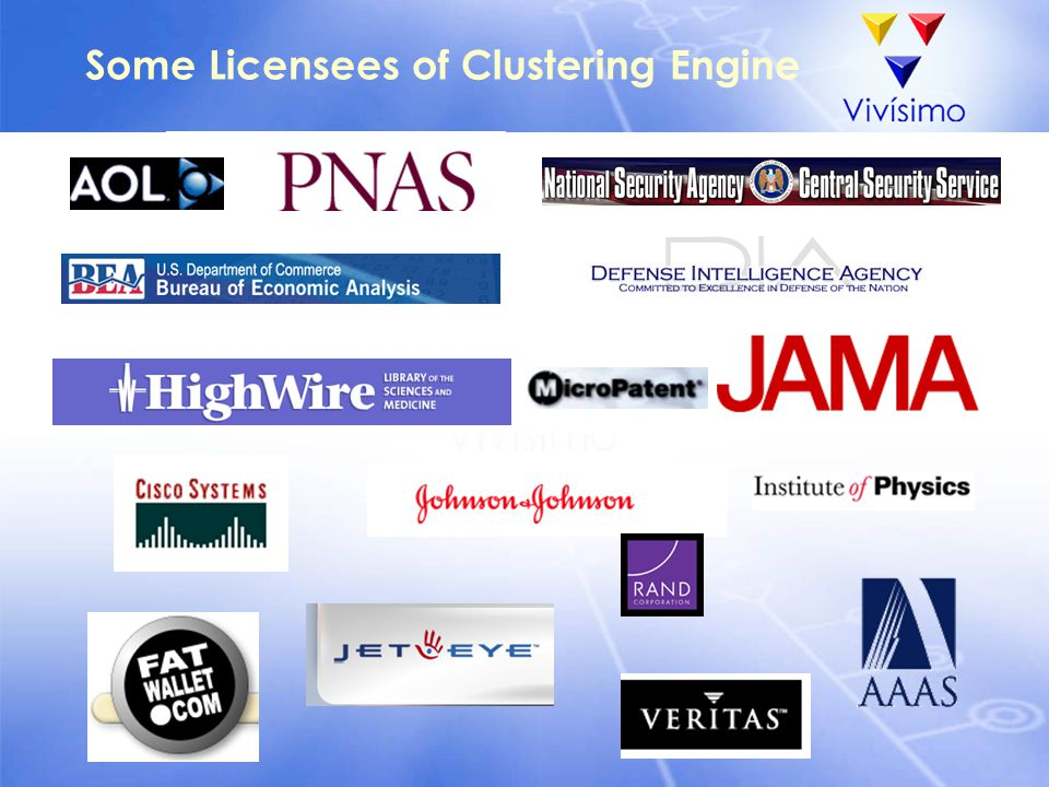 Some Licensees of Clustering Engine