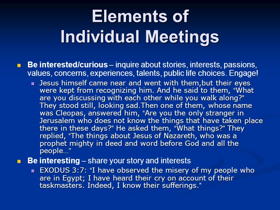 Elements of Individual Meetings Be interested/curious – inquire about stories, interests, passions, values, concerns, experiences, talents, public life choices.