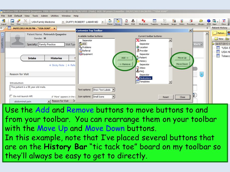 Use the Add and Remove buttons to move buttons to and from your toolbar.
