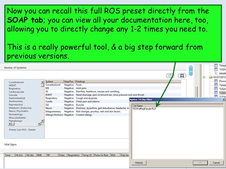 Now you can recall this full ROS preset directly from the SOAP tab; you can view all your documentation here, too, allowing you to directly change any 1-2 times you need to.