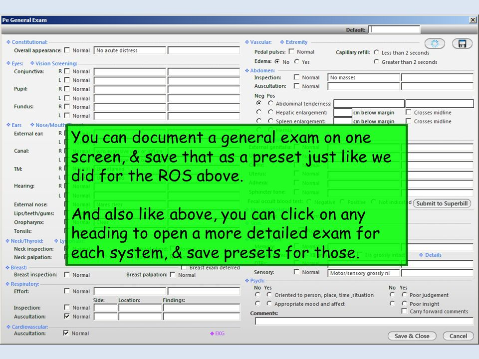 You can document a general exam on one screen, & save that as a preset just like we did for the ROS above.
