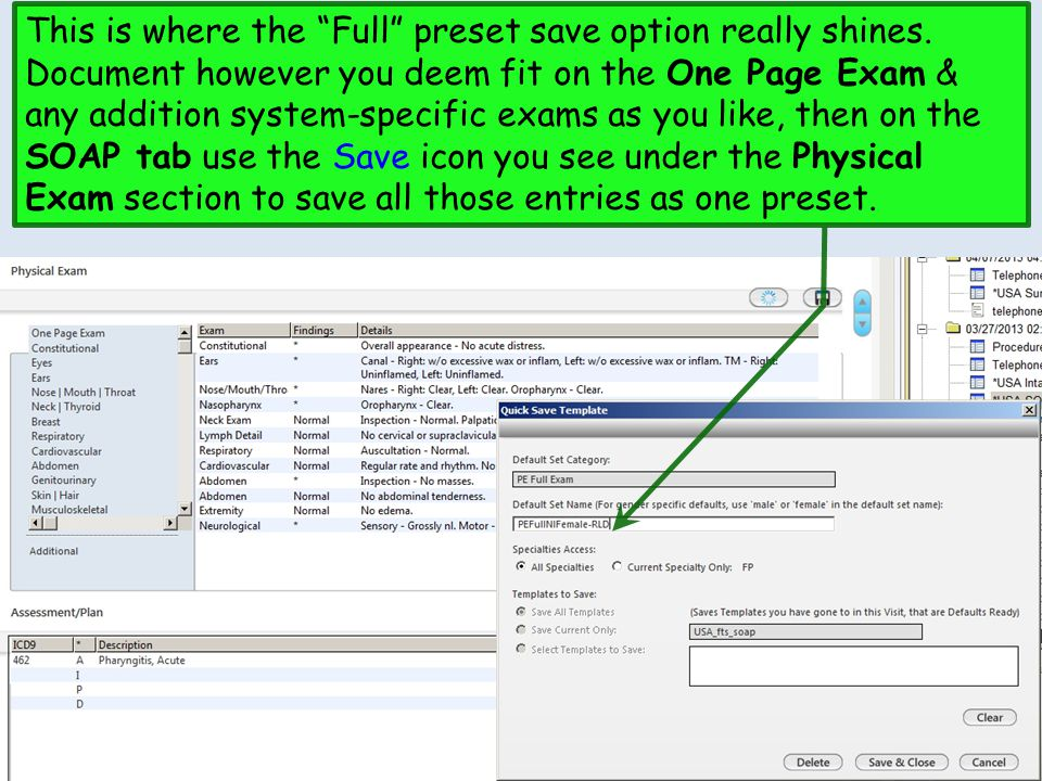 """This is where the """"Full"""" preset save option really shines. Document however you deem fit on the One Page Exam & any addition system-specific exams as"""