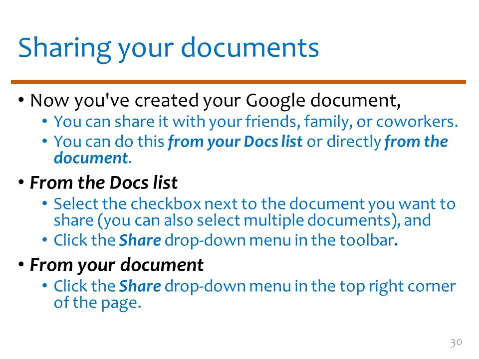 Sharing your documents Now you ve created your Google document, You can share it with your friends, family, or coworkers.