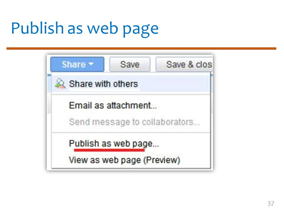 Publish as web page 37