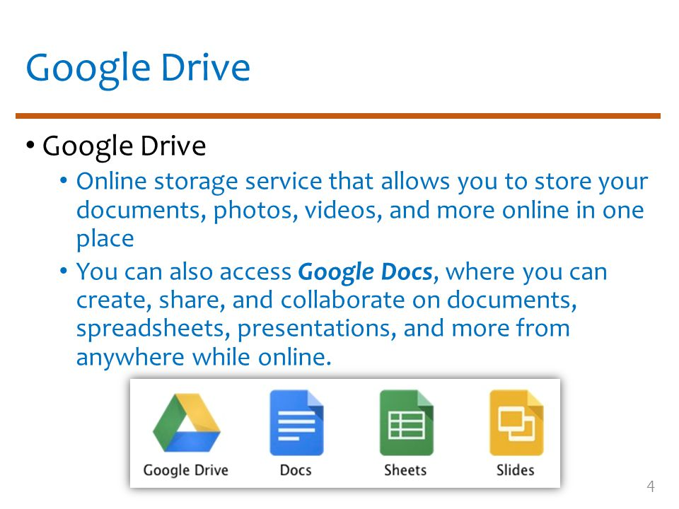 Google Drive Online storage service that allows you to store your documents, photos, videos, and more online in one place You can also access Google D