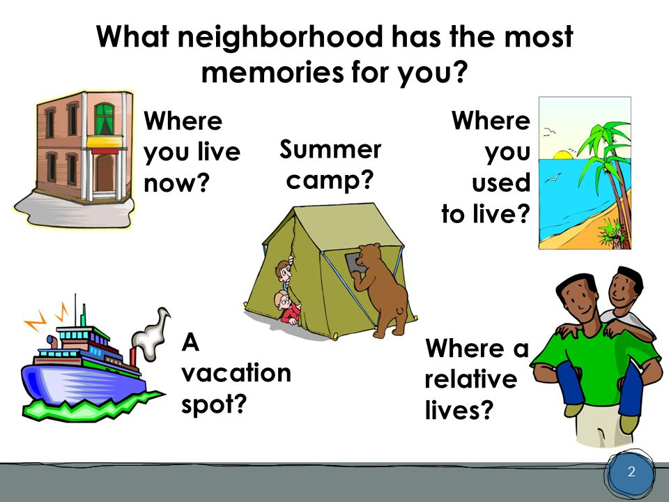 2 What neighborhood has the most memories for you.