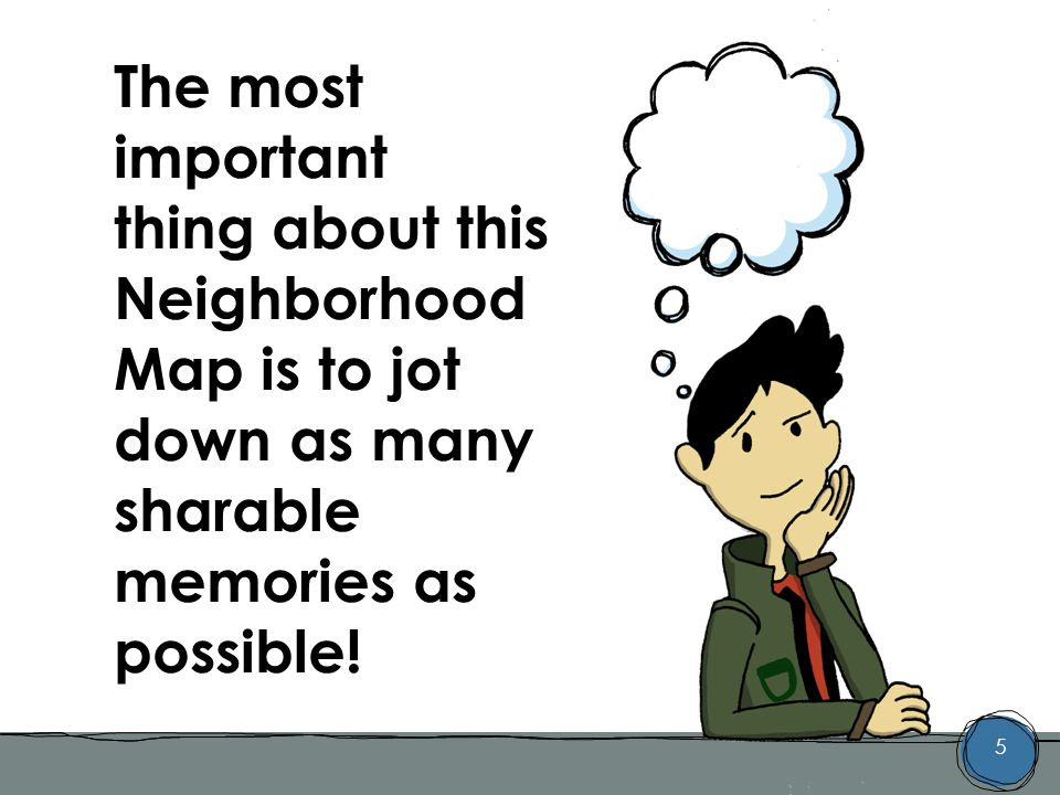 5 The most important thing about this Neighborhood Map is to jot down as many sharable memories as possible!