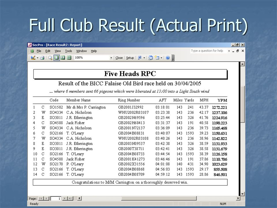 Full Club Result (Actual Print)