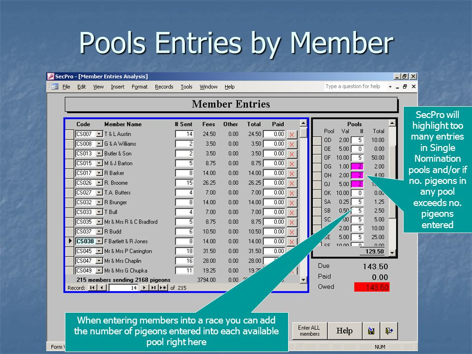 Pools Entries by Member When entering members into a race you can add the number of pigeons entered into each available pool right here SecPro will highlight too many entries in Single Nomination pools and/or if no.
