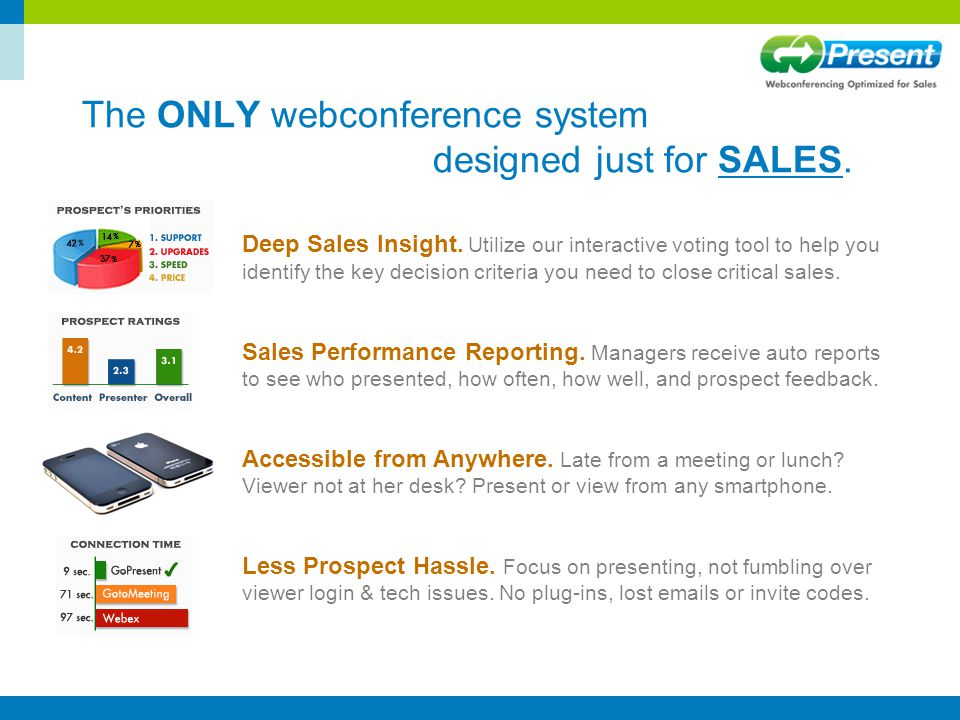 The ONLY webconference system designed just for SALES. Deep Sales Insight. Utilize our interactive voting tool to help you identify the key decision c