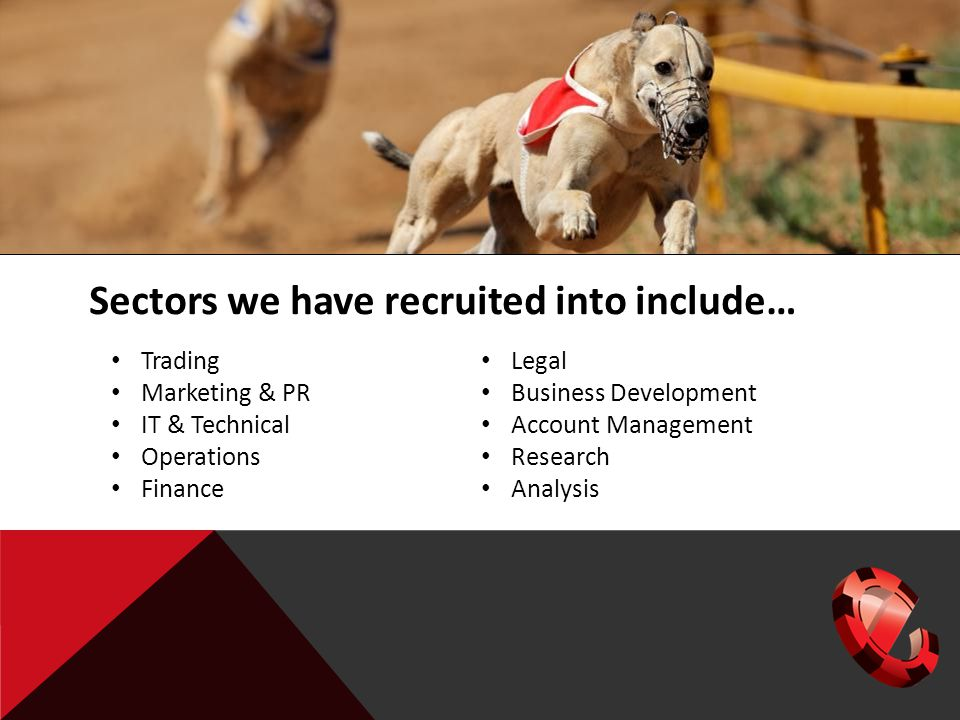 Sectors we have recruited into include… Trading Marketing & PR IT & Technical Operations Finance Legal Business Development Account Management Research Analysis