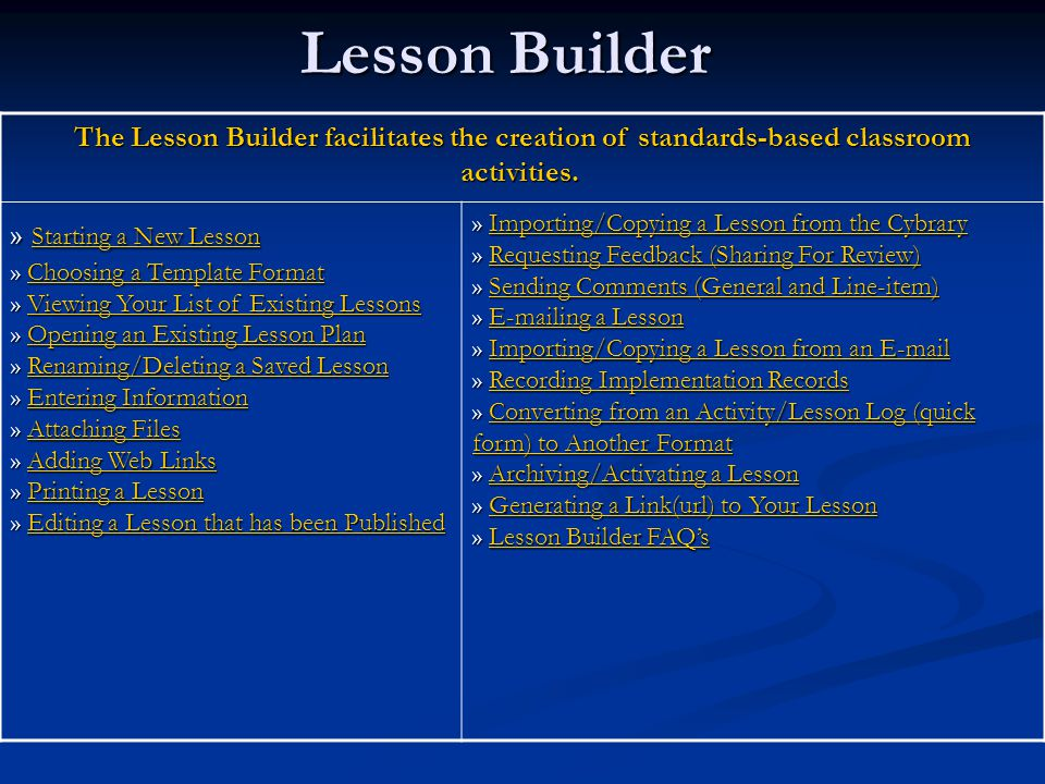 Lesson Builder The Lesson Builder facilitates the creation of standards-based classroom activities.