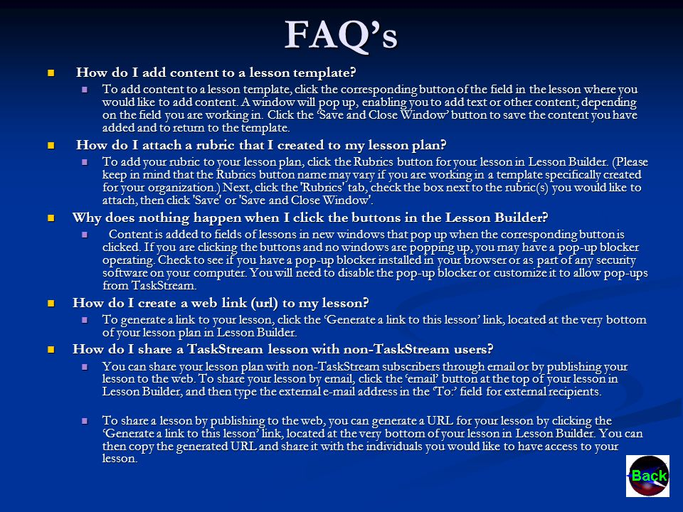 FAQ's How do I add content to a lesson template. How do I add content to a lesson template.