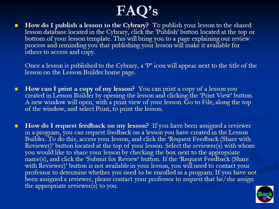 FAQ's How do I publish a lesson to the Cybrary.