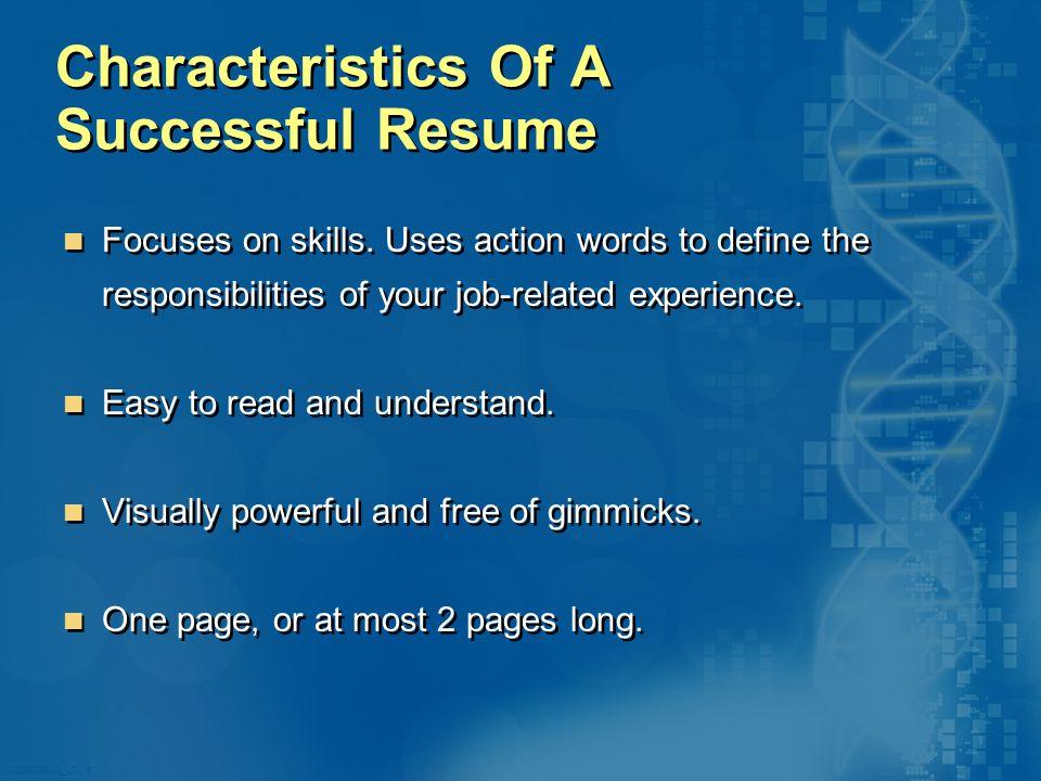 020870A01_LT 4 Characteristics Of A Successful Resume Focuses on skills.