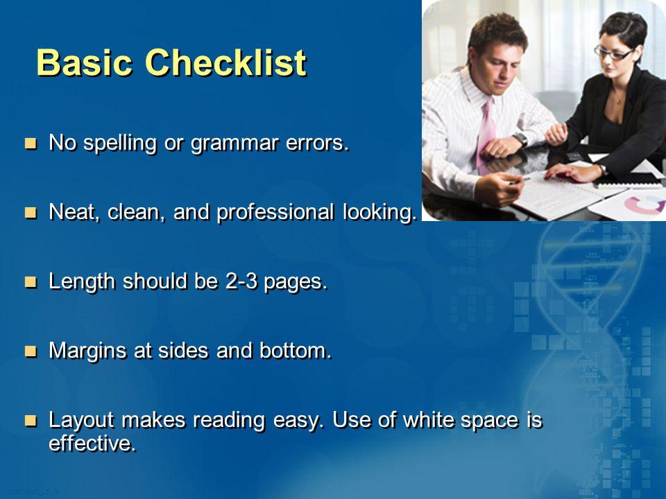 020870A01_LT 9 Basic Checklist No spelling or grammar errors.