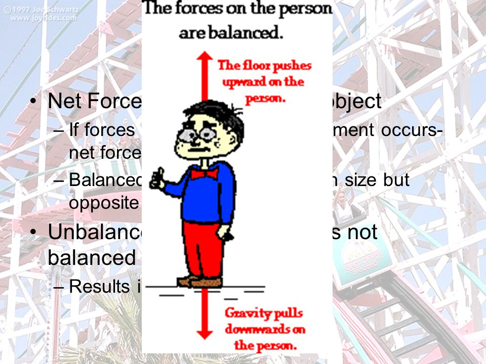 Forces Net Force- Total force on an object –If forces are balanced, no movement occurs- net force is zero –Balanced forces- forces equal in size but opposite in direction Unbalanced force- force that is not balanced by another force –Results in movement