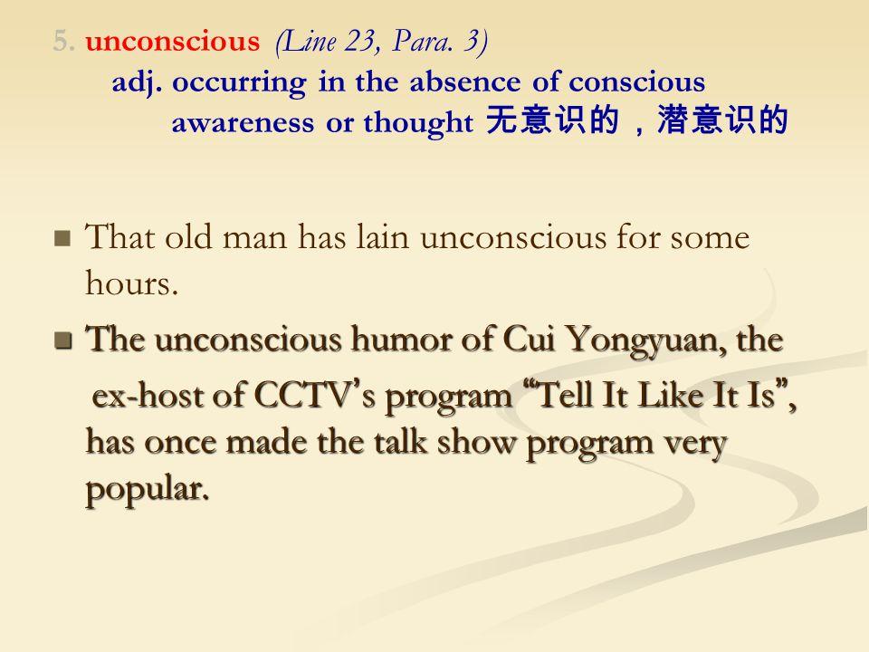 5. unconscious (Line 23, Para. 3) adj.