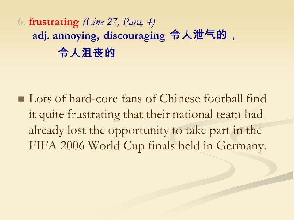 6. frustrating (Line 27, Para. 4) adj.