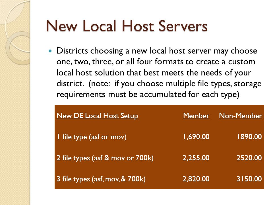 New Local Host Servers Districts choosing a new local host server may choose one, two, three, or all four formats to create a custom local host solution that best meets the needs of your district.
