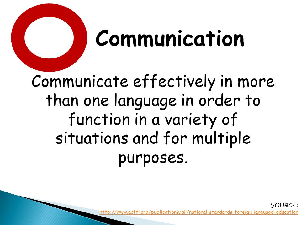 Communication Communicate effectively in more than one language in order to function in a variety of situations and for multiple purposes. SOURCE: htt