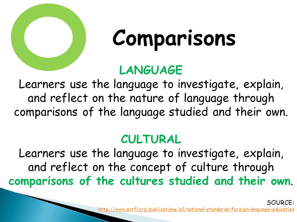 Comparisons LANGUAGE Learners use the language to investigate, explain, and reflect on the nature of language through comparisons of the language stud