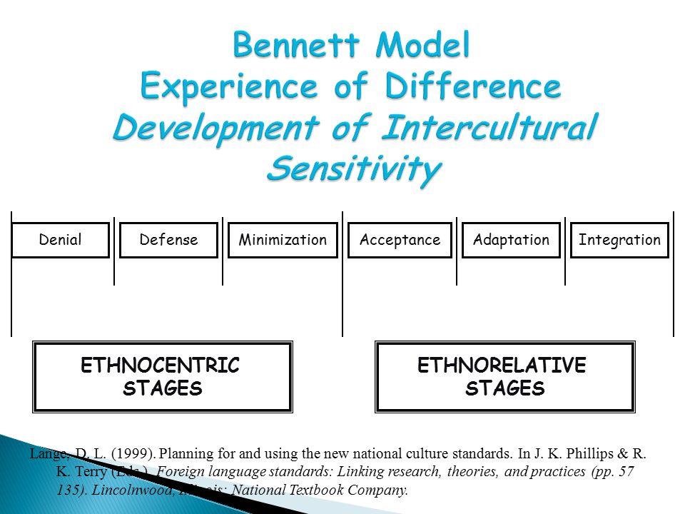 Bennett Model Experience of Difference Development of Intercultural Sensitivity DenialDefenseMinimizationIntegrationAdaptationAcceptance ETHNOCENTRIC