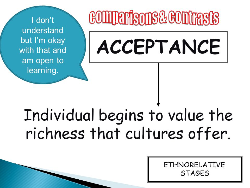 ACCEPTANCE Individual begins to value the richness that cultures offer. ETHNORELATIVE STAGES I don't understand but I'm okay with that and am open to