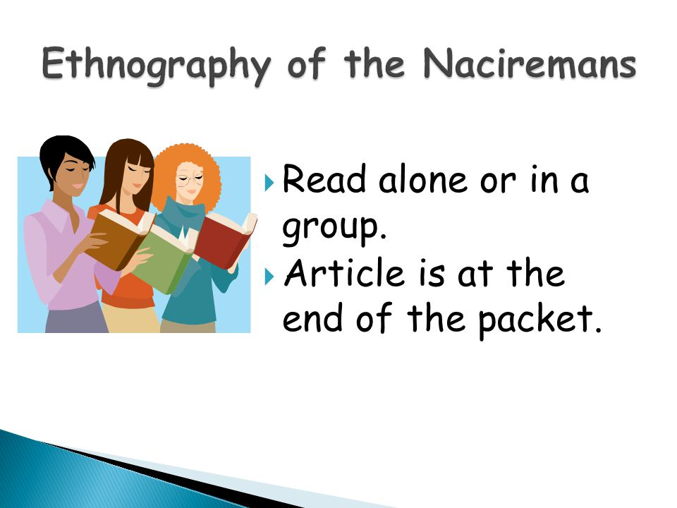  Read alone or in a group.  Article is at the end of the packet.
