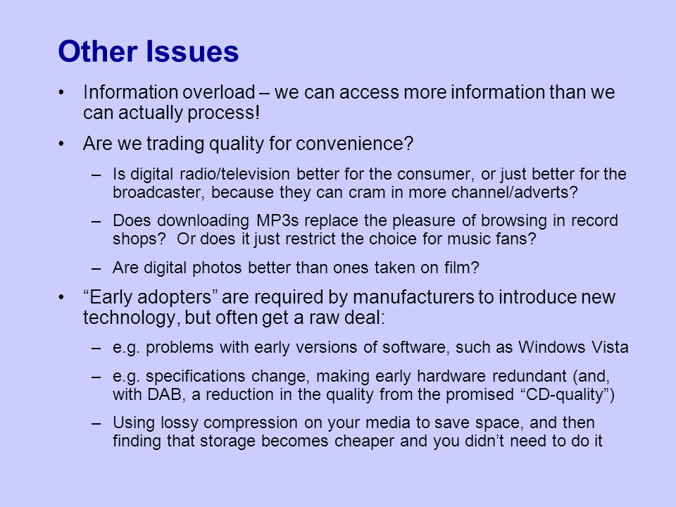 Other Issues Information overload – we can access more information than we can actually process.