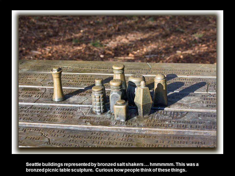 Seattle buildings represented by bronzed salt shakers … hmmmmm.