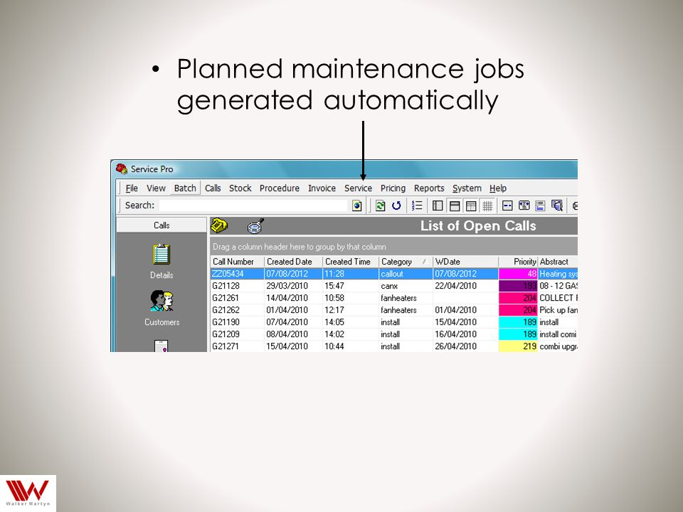 Planned maintenance jobs generated automatically